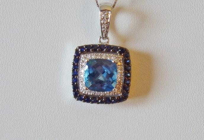 14K Gold Le Vian Ocean Blue Topaz, Diamond and Sapphire Necklace