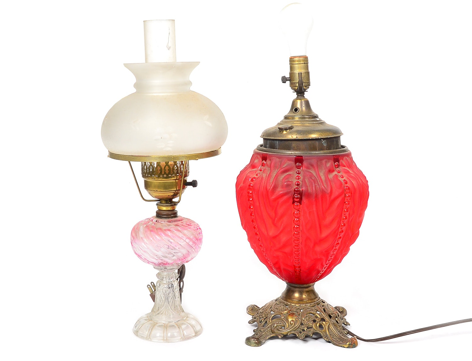 Two Vintage Glass Table Lamps