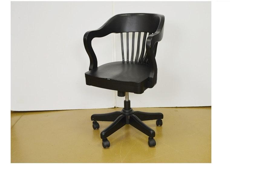 Black Wood Swivel Desk Chair ...