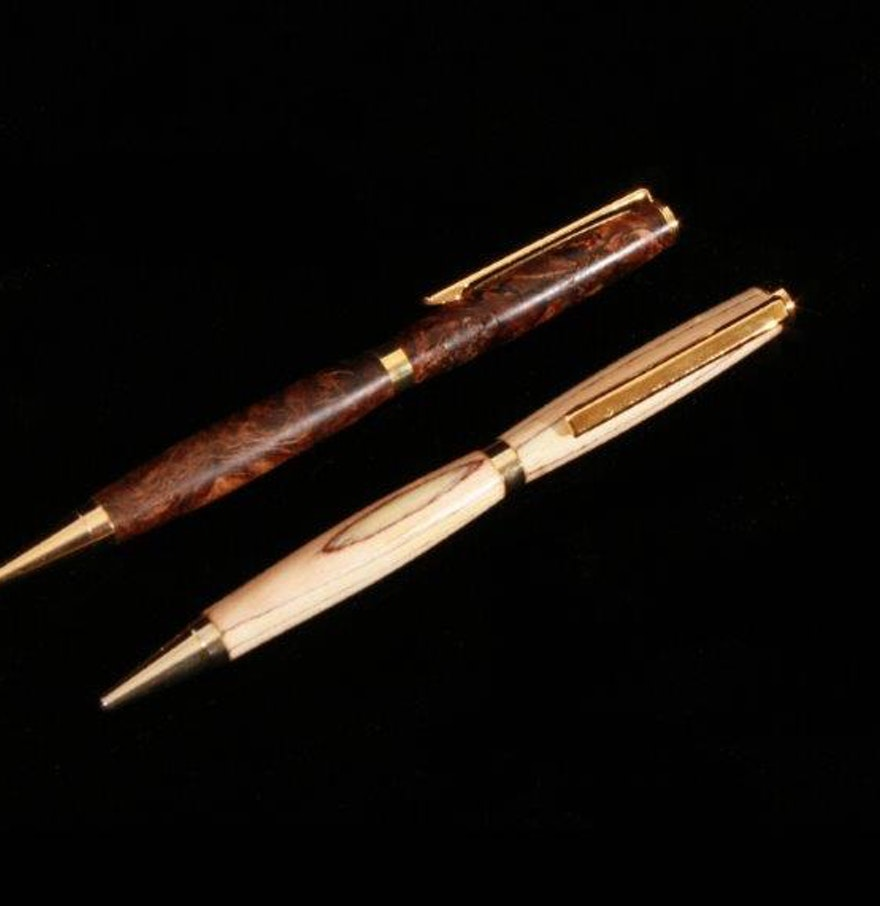 Craft pens to write on wood - Pair Of Hand Turned Wood Ballpoint Pens By D L Crafts