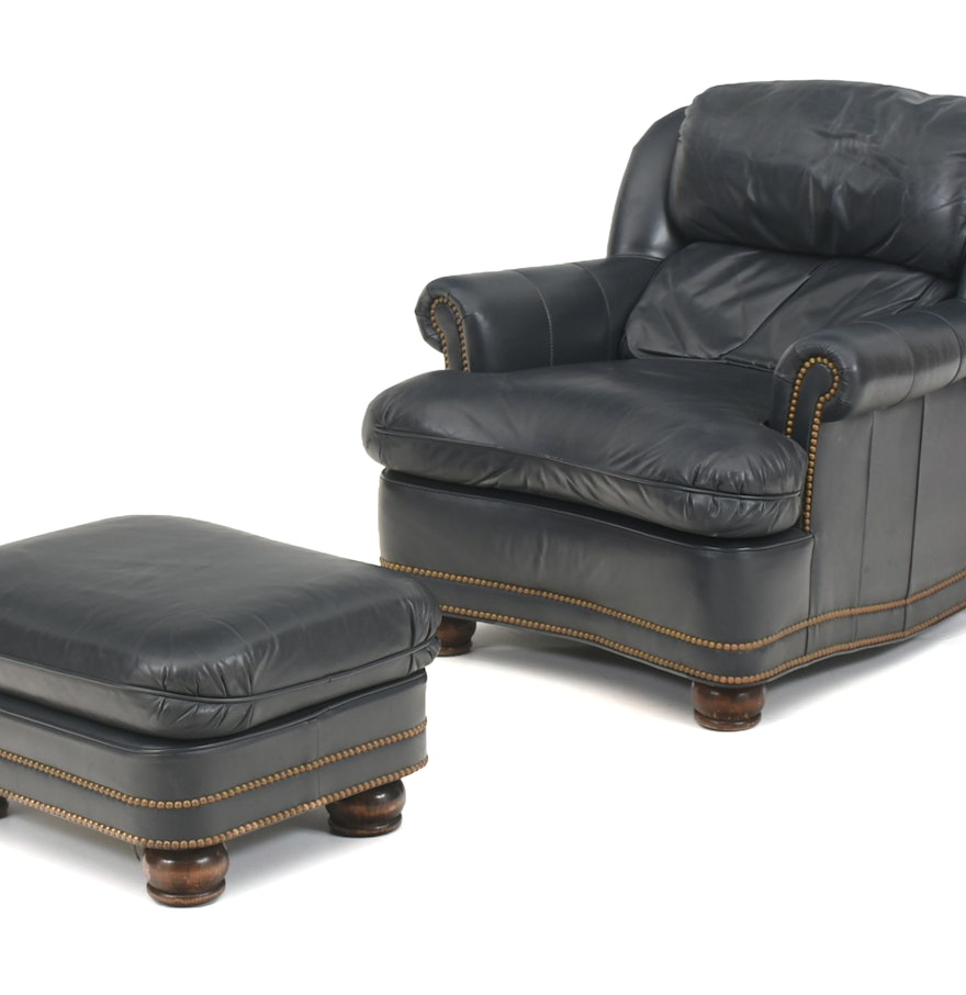 Hancock and moore leather arm chair and matching ottoman for Matching arm chairs