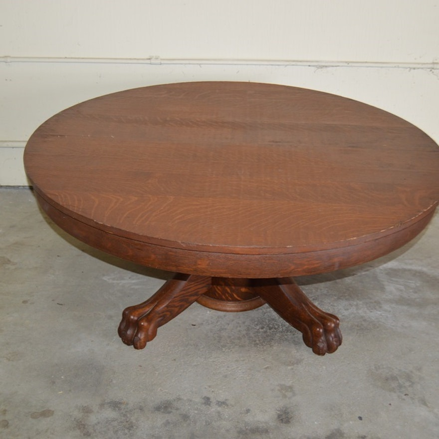 Antique Tiger Oak Claw Foot Tail Table
