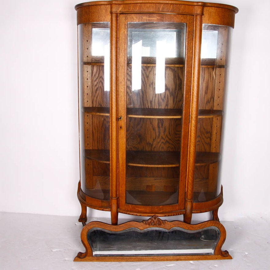 Antique Oak Curio Cabinet with Carved Mirror ... - Antique Oak Curio Cabinet With Carved Mirror : EBTH