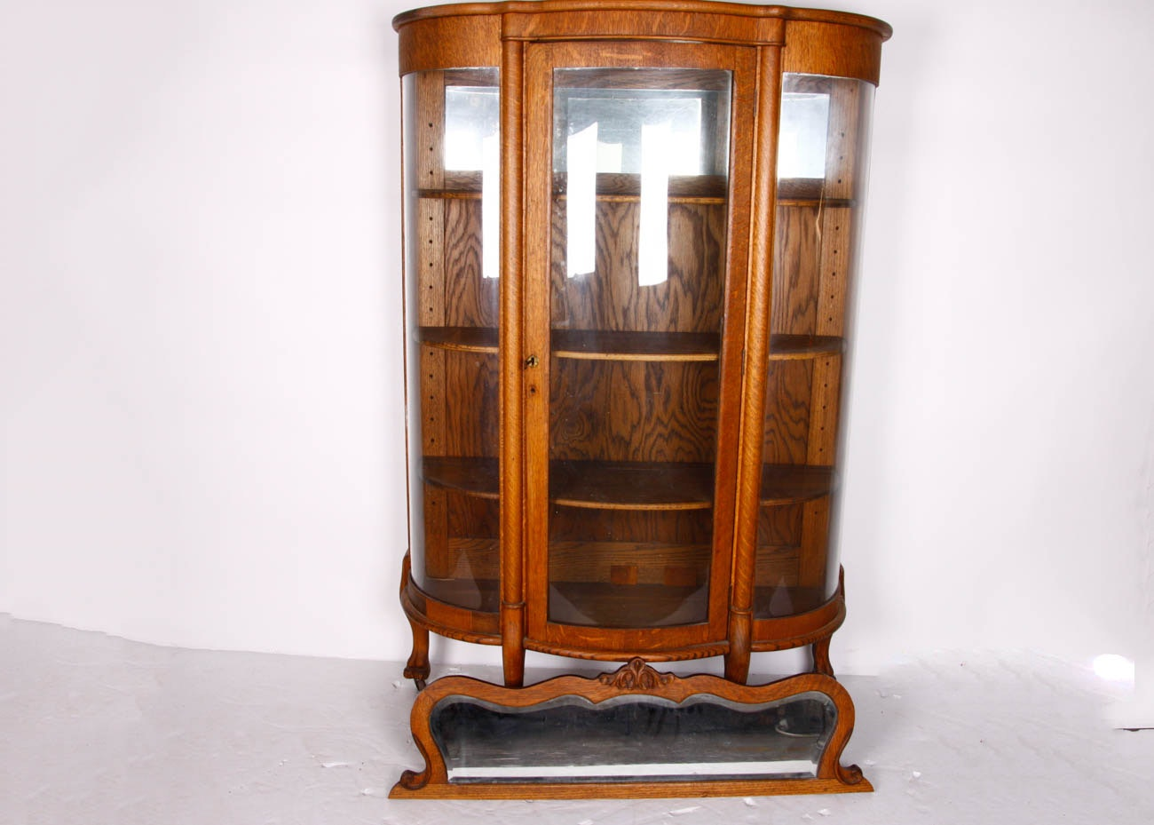 Antique Oak Curio Cabinet With Carved Mirror ...