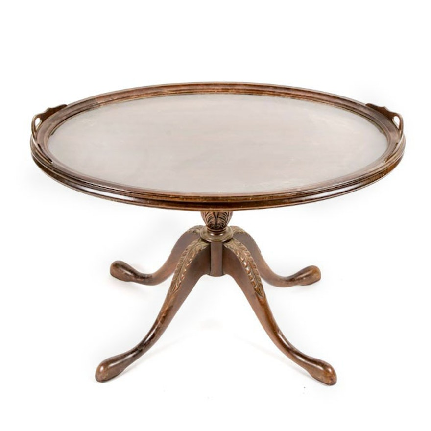 Duncan Phyfe Style Oval Pedestal Coffee Table