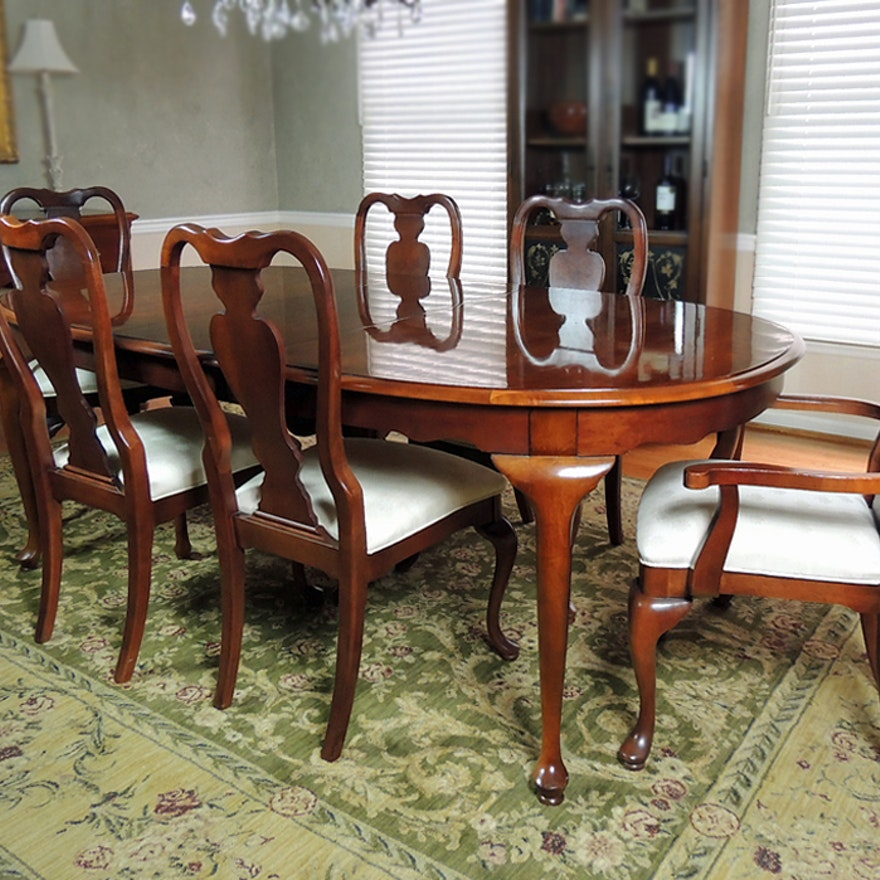 Oval Dining Table And Six Chairs By Stanley Furniture