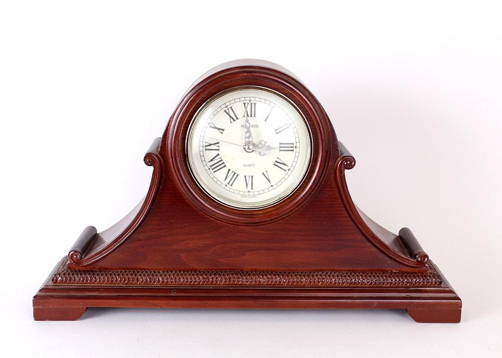 Wooden napoleon mantel clock