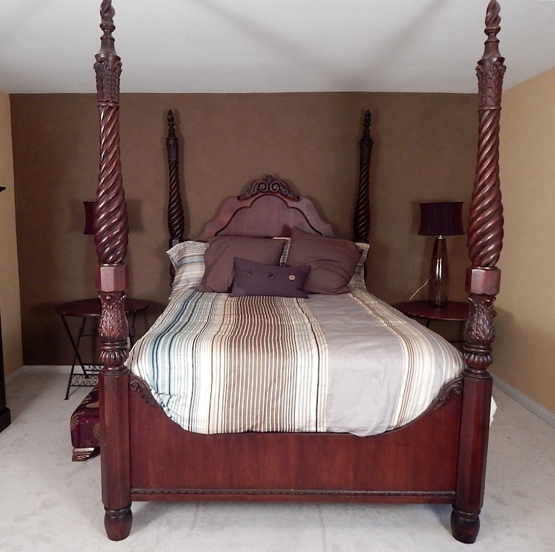 Queen Size Twisted Four Poster Bed With Canopy Top Ebth