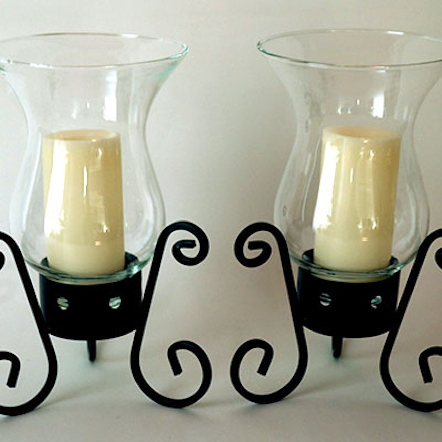 Pair Of Wrought Iron Hurricane Candle Holders