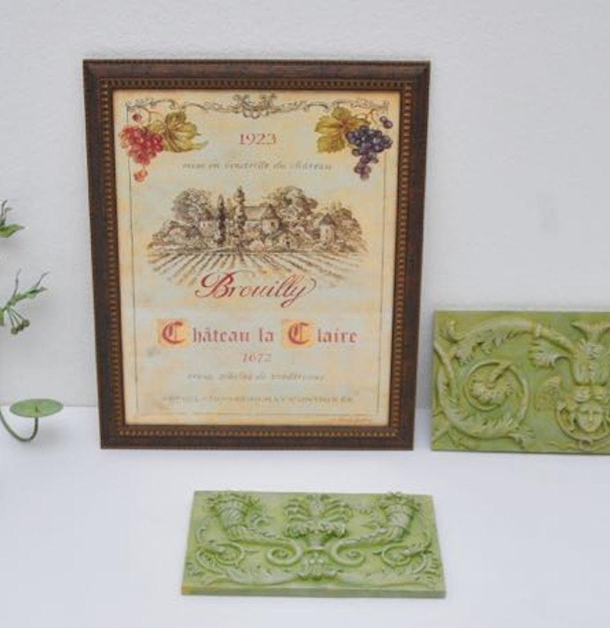 Brouilly vineyard ch teau la claire print with verde gris for Brouilly chateau de la chaise