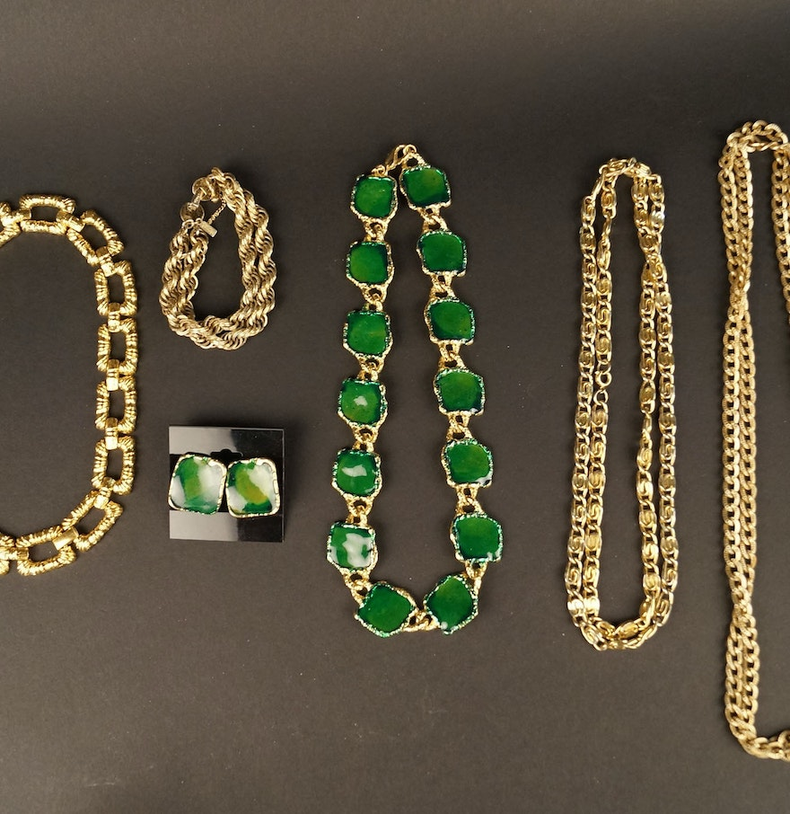 Green Costume Jewellery: Vintage Collection Of Gold And Emerald Green Costume
