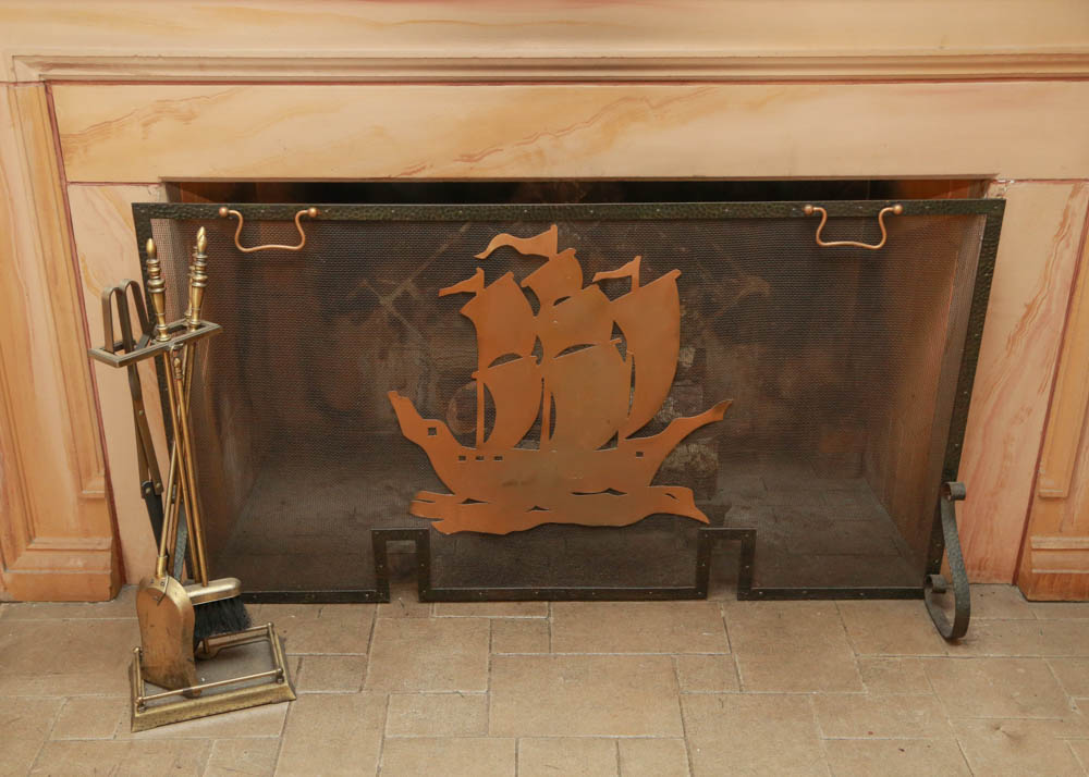 Nautical Fireplace Screen and Accessories : EBTH