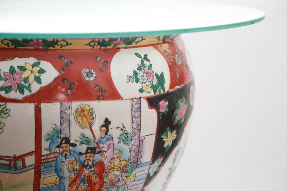 Chinese koi fish bowl accent table ebth for Koi viewing bowl