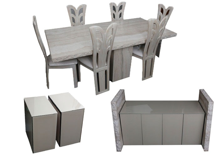 italian marble dining table with chairs credenza and side