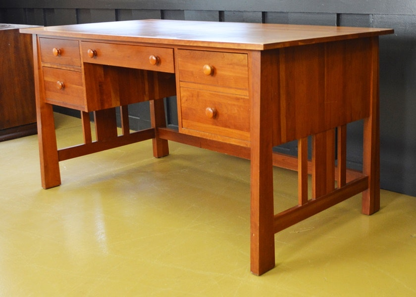 Ethan Allen Mission Influenced Cherry Desk ...