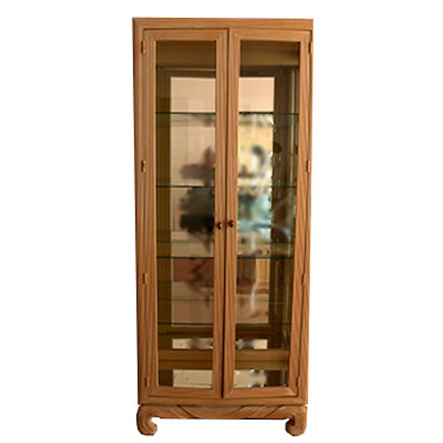 Lighted Whitewashed Rattan Style Curio Cabinet