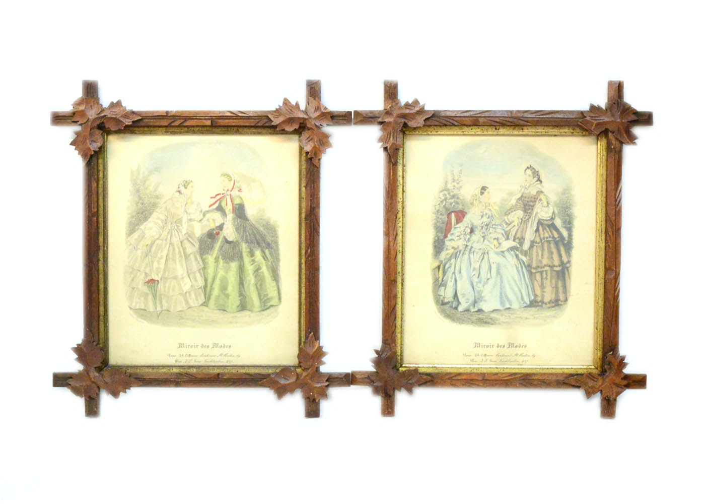 pair of framed miroir des modes fashion plates ebth