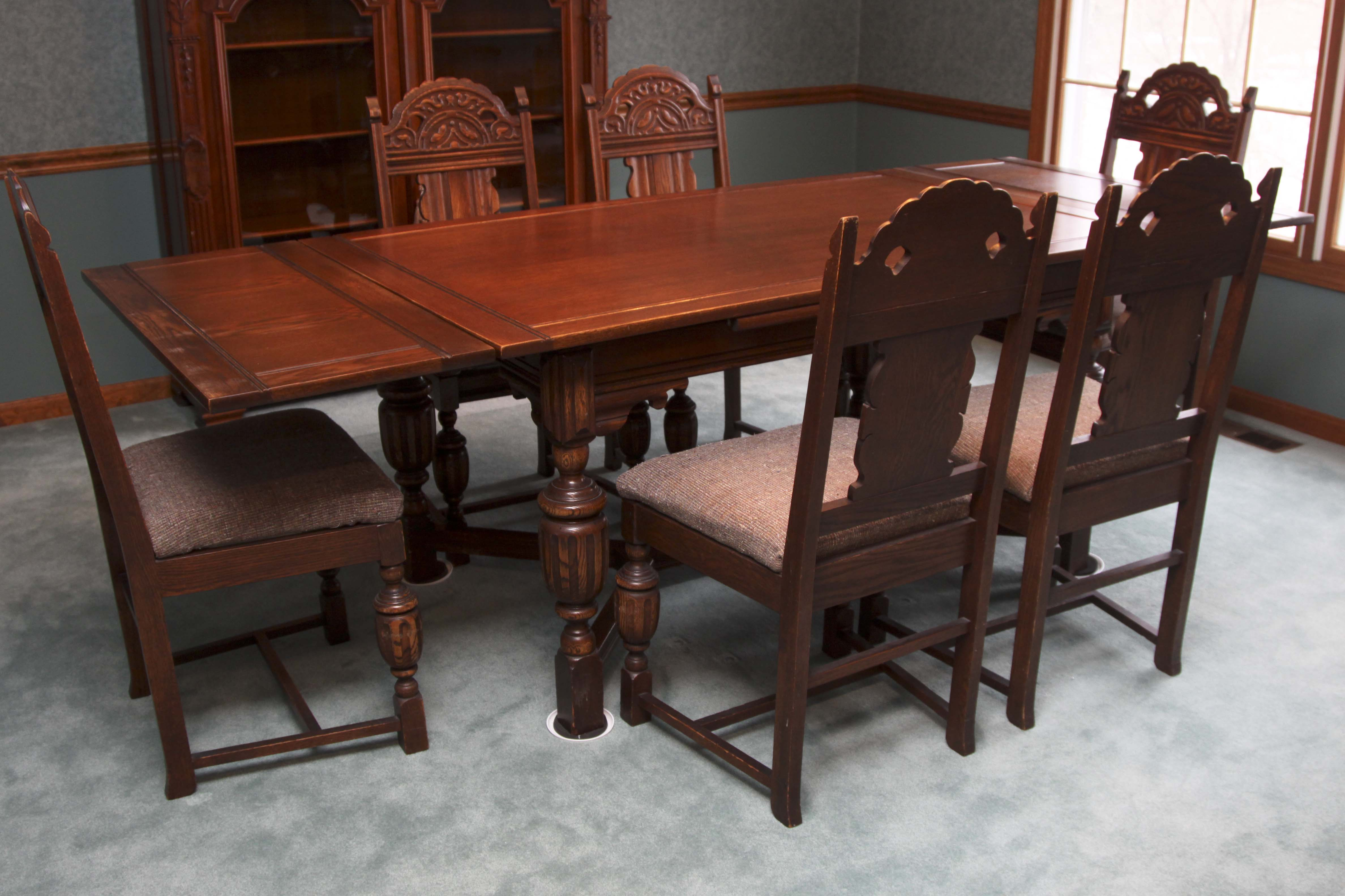 Jacobean Revival Draw Leaf Dining Table and Six ChairsEBTH