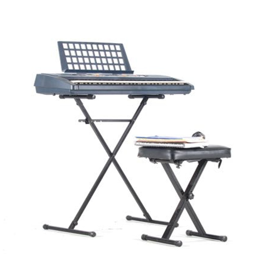 yamaha portatone psr 280 keyboard with stand and bench ebth. Black Bedroom Furniture Sets. Home Design Ideas