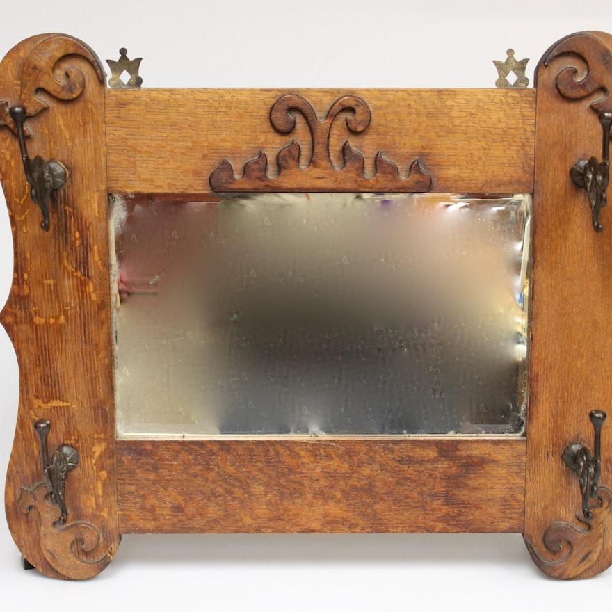 Antique Wood Framed Coat Hook Mirror EBTH Stunning Antique Wooden Coat Rack