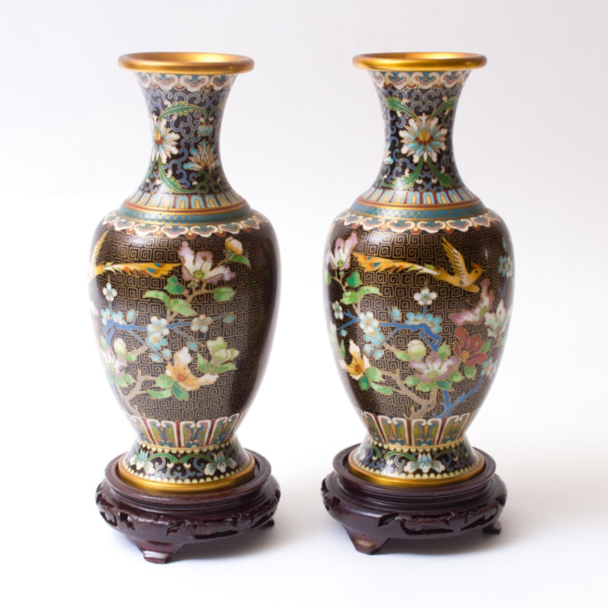 Pair Of Chinese Zi Jin Cheng Cloisonn Vases Ebth