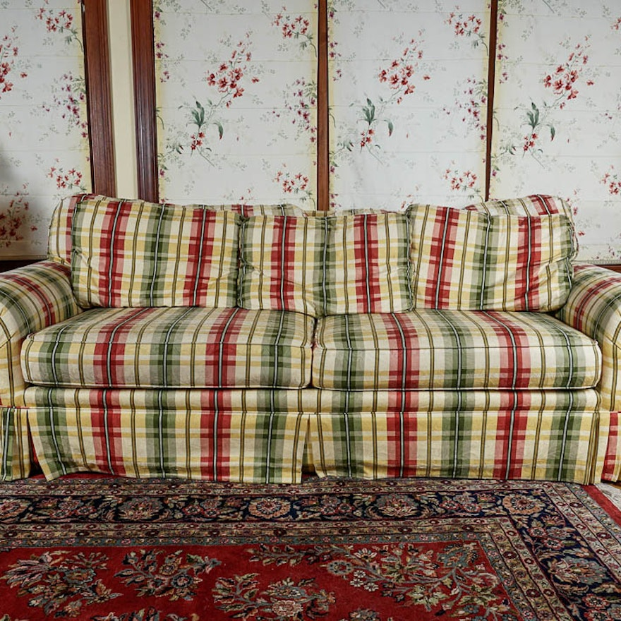 Colorful Striped Plaid Couch in Red, Green and Yellow | EBTH