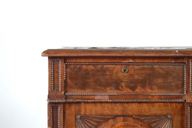English Antique Flame Mahogany Partners Desk Ebth