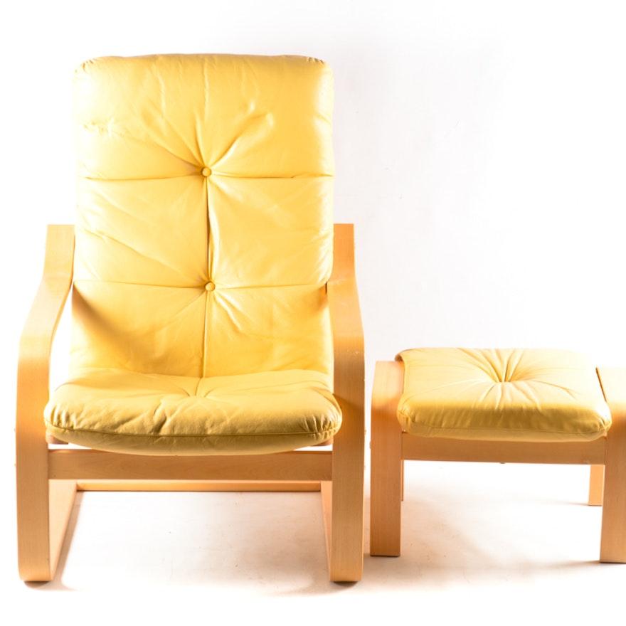 Ikea Poang Yellow Leather Chair And Ottoman Ii Ebth