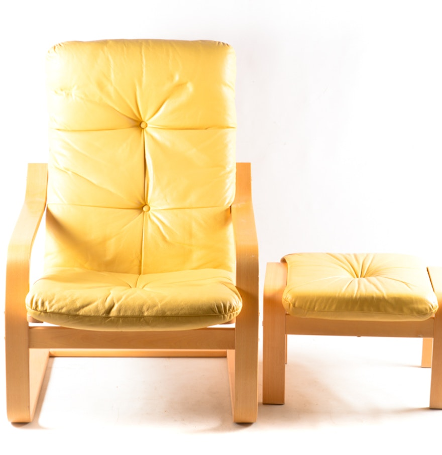 Ikea poang yellow leather chair and ottoman ii ebth for Ikea poang leather