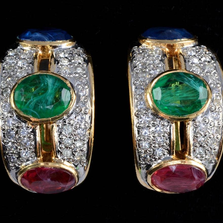 Pair Of Vogue Bijoux Designer Vintage Costume Clip On Earrings