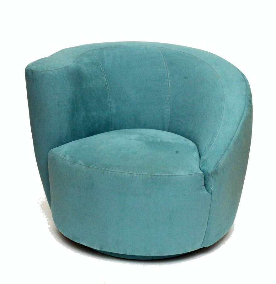 Teal ultra suede upholstered swivel chair ebth for Small teal chair