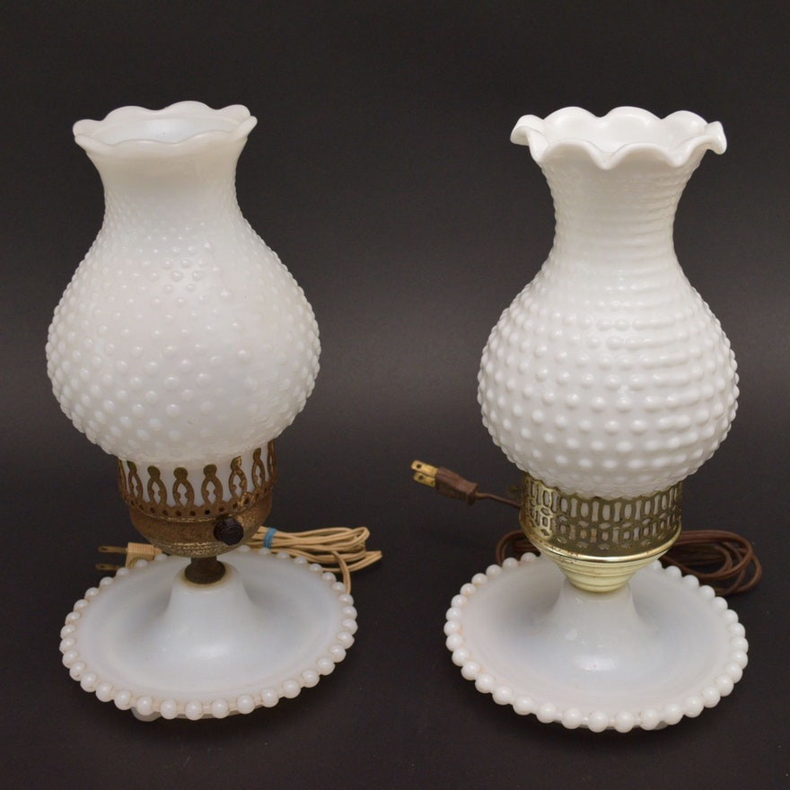 Milk Glass Hobnail Electric Hurricane Table Lamps Ebth