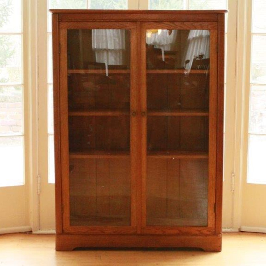 Antique Larkin Gl Front Oak Bookcase