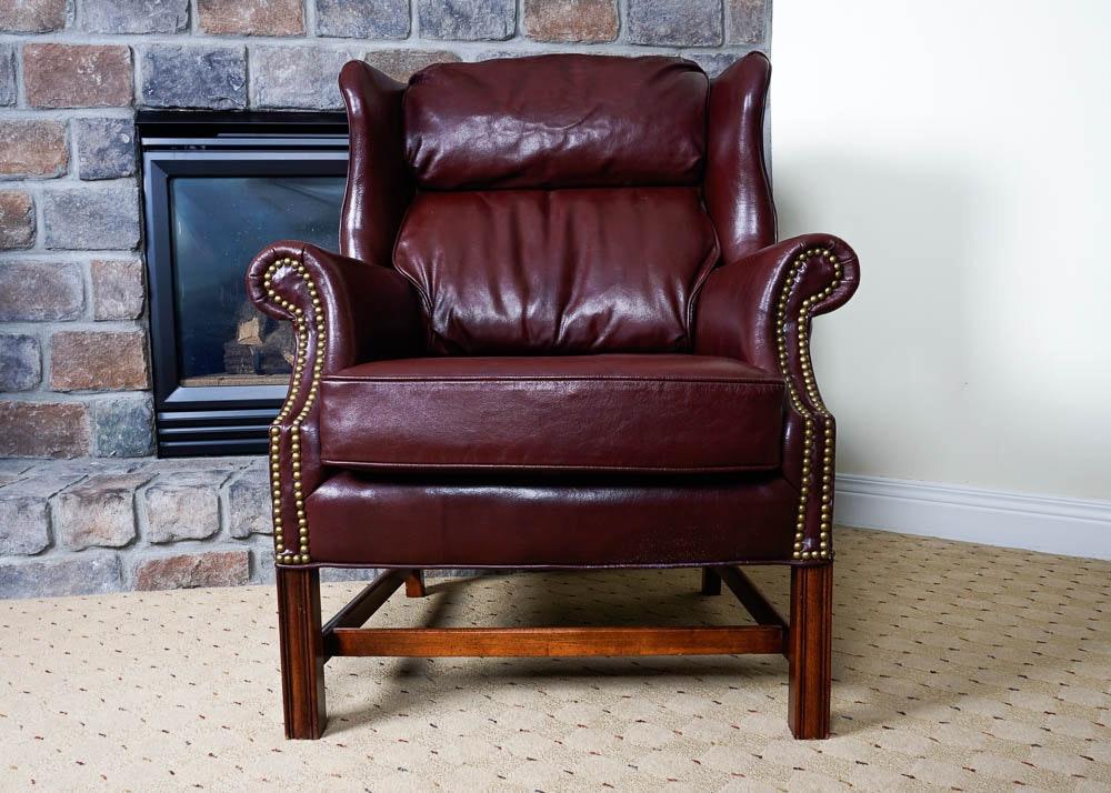 Burgundy Wingback Armchair With Nailhead Trim ...