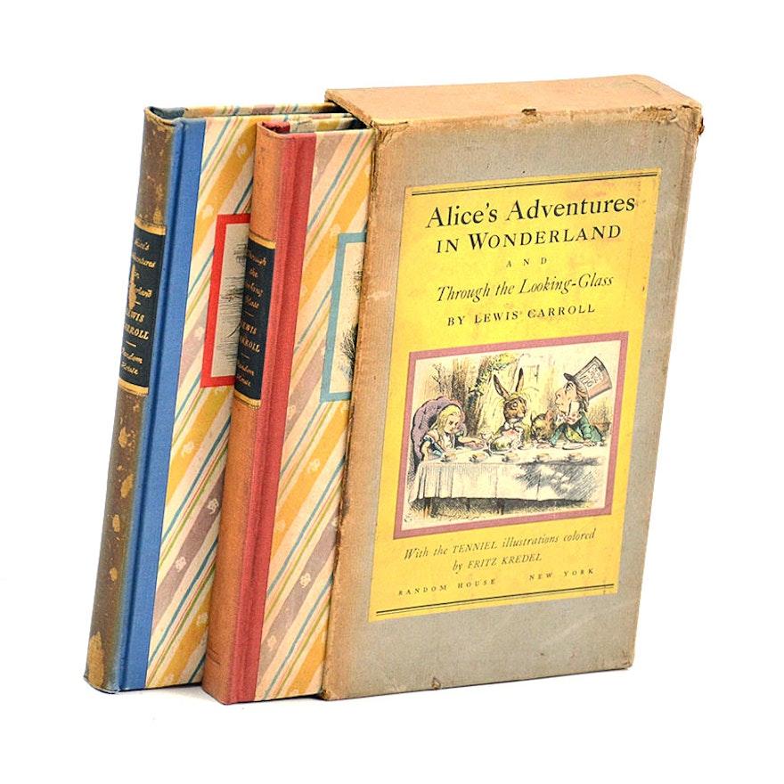 Vintage alice in wonderland by lewis carroll, 2 book set, 1946.
