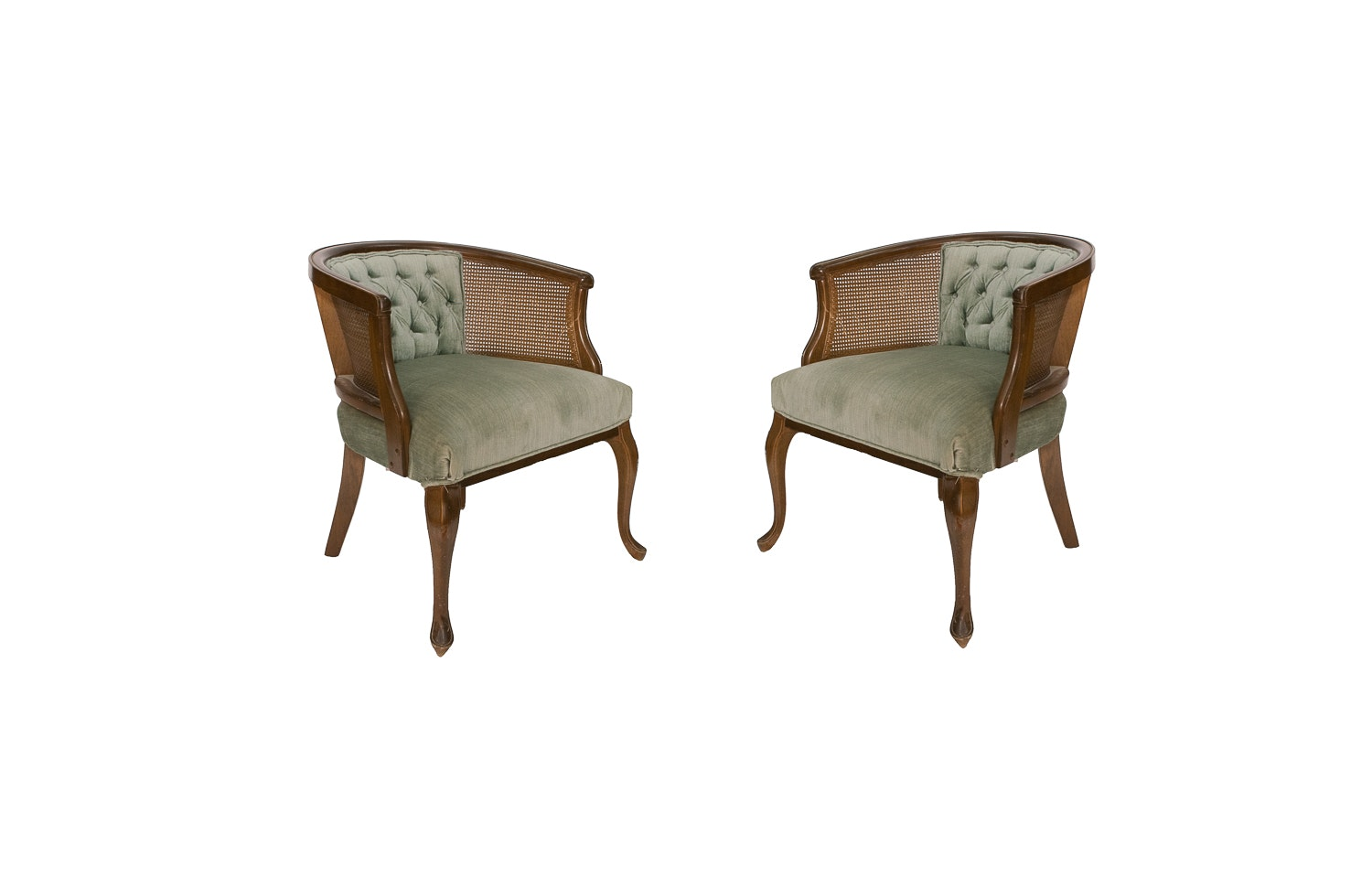 Pair Of Vintage Green Upholstered Round Back Cane Chairs ...