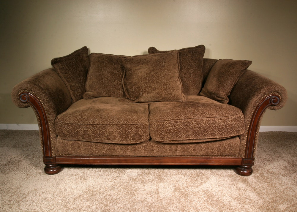 Bernhardt New Vintages Plush Olive Green Rolled Arm Sofa ...