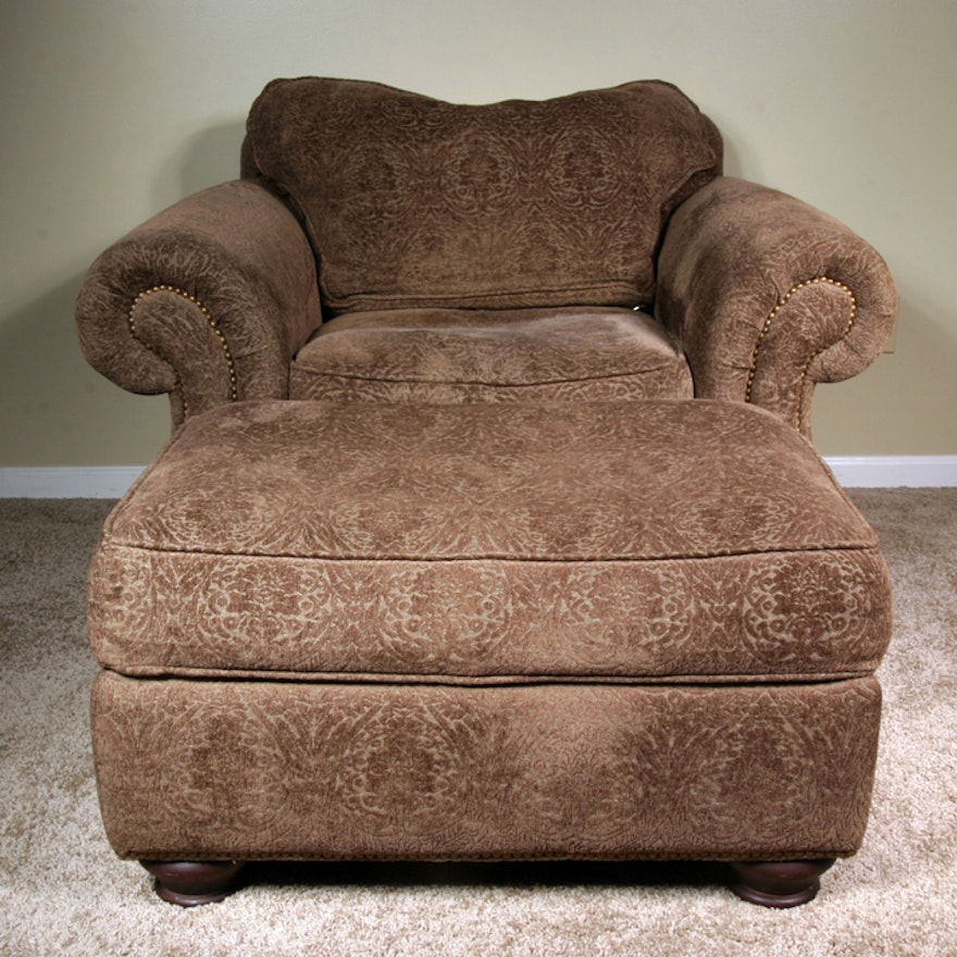 Bernhardt New Vintages Plush Rolled Arm Chair And Ottoman