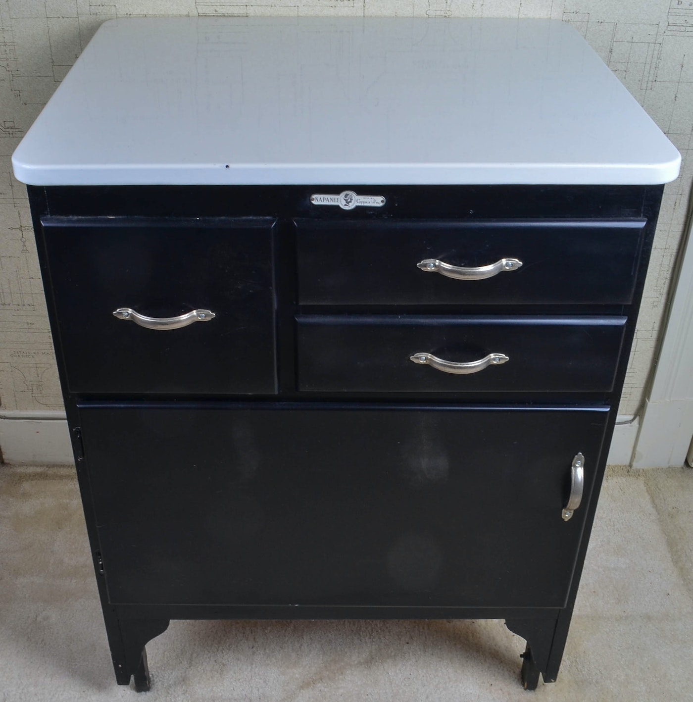 Vintage Coppes Inc. Napanee Kitchen Cabinet with Enamel ...