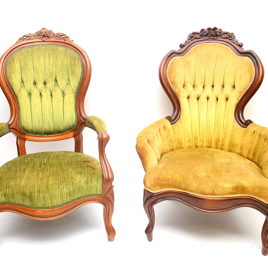 Victorian style chair - Pair Of Victorian Style Parlor Chairs