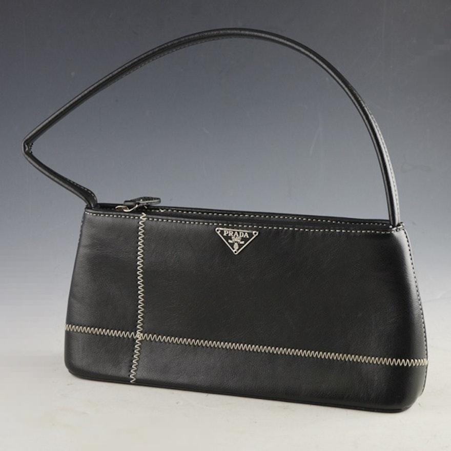 ace949dd382b Prada Black Handbag With White Top Stitching