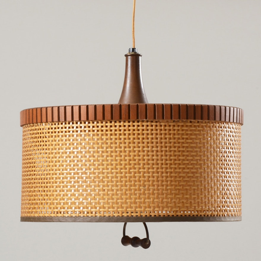 Vintage Wicker Hanging Lamp : EBTH
