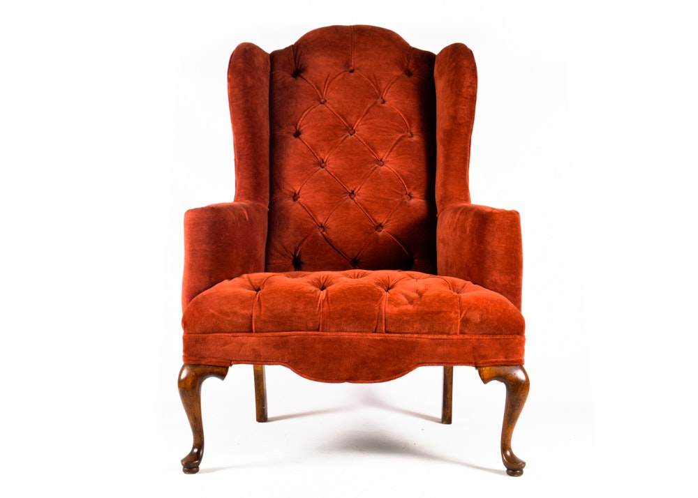 Queen Anne Brick Red Crushed Velvet Wingback Chair ...