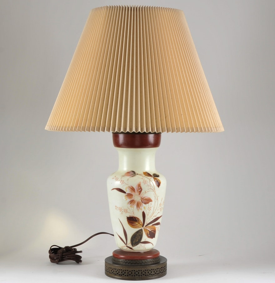 Vintage hand painted table lamp ebth vintage hand painted table lamp geotapseo Gallery