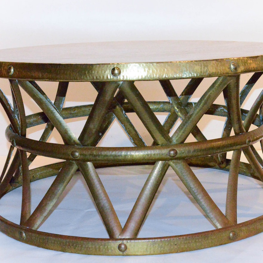 Vintage Hammered Brass On Copper Drum Coffee Table EBTH - Copper drum coffee table