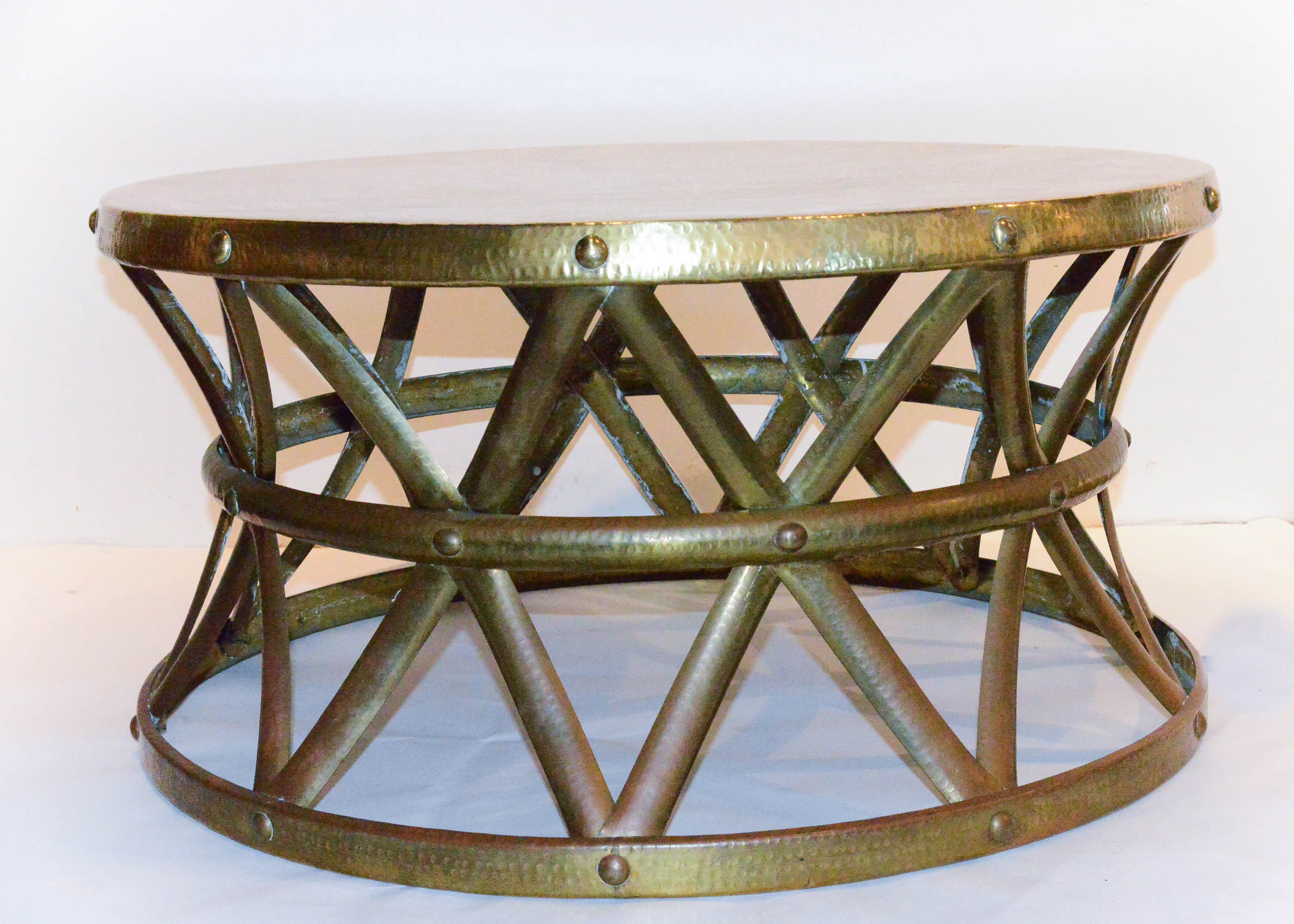 Vintage Hammered Brass On Copper Drum Coffee Table ...