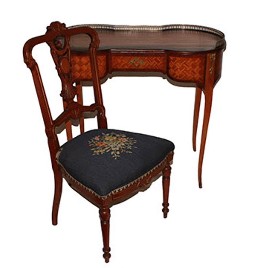 Victorian furniture table - Antique Louis Xvi Style Writing Desk And Victorian Chair