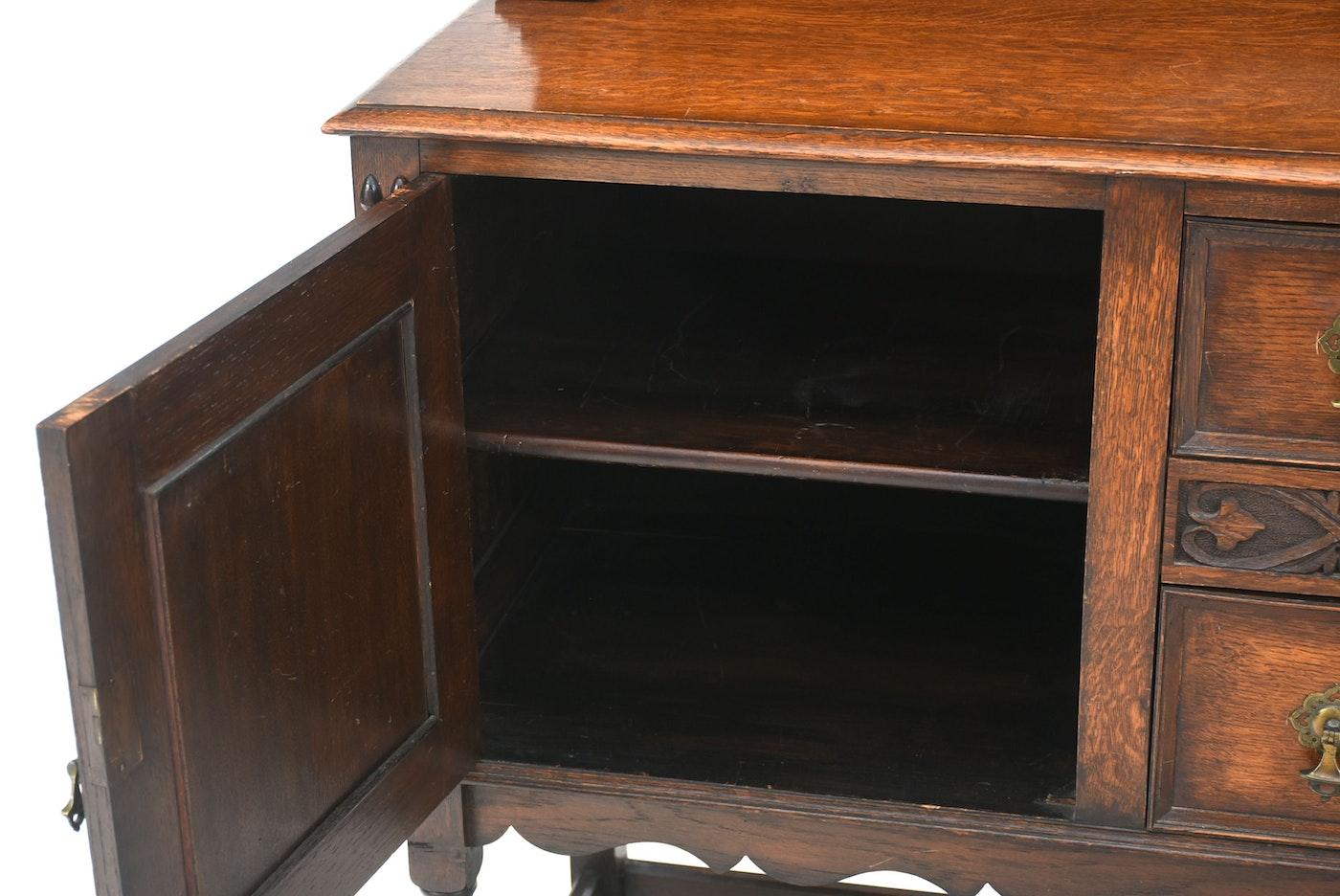 Jacobean Revival Oak Sideboard Ebth