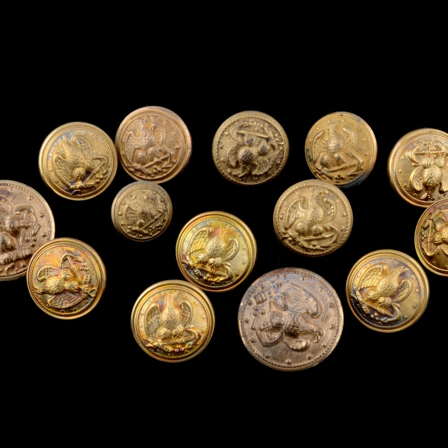 Collection of Antique and Vintage Navy Brass Buttons