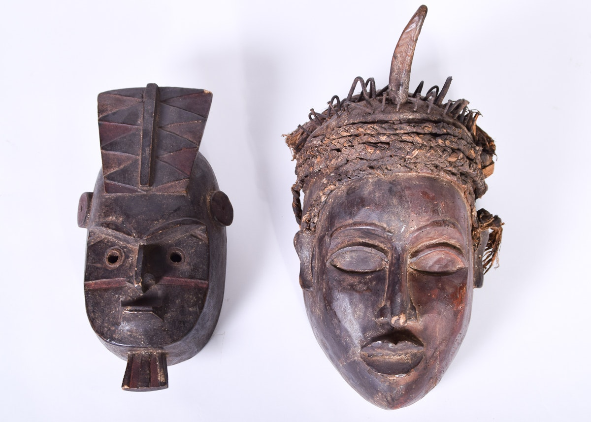 pair of wooden african masks